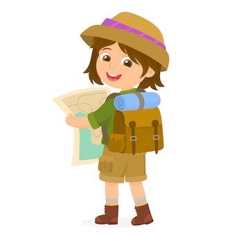 Viajante de turista com mochila