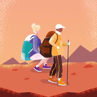 Viajante do casal no personagem de avatar de paisagem