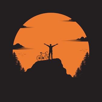 Viajante e bicicleta em pé no vale