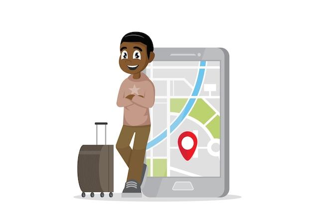 Viajante homem africano e seu smartphone para navegar.