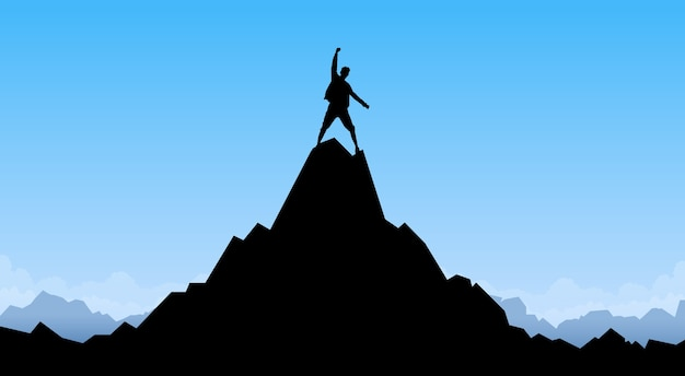 Viajante homem silhueta ficar topo montanha rocha pico escalador