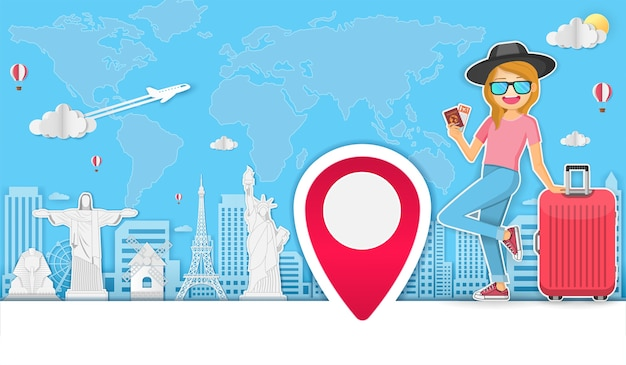 Viajante mulher viajar ao redor do conceito de mundo.