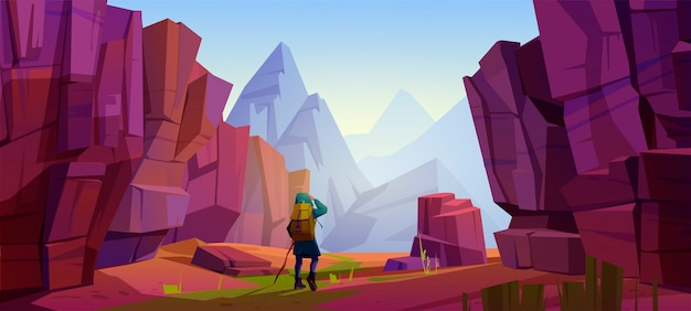 Viajante nas montanhas, jornada de viagem, aventura. turista com mochila e mapa fica na paisagem rochosa olha para longe no pico alto. estilo de vida de caminhada extrema, ilustração vetorial de desenho animado