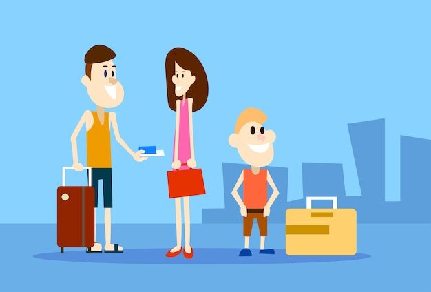 Viajante, pessoas, família, mantenha, bilhetes, aeroporto