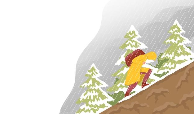 Viajante sobe nas montanhas com mau tempo conceito para caminhadas ao ar livre vetor plano de cores