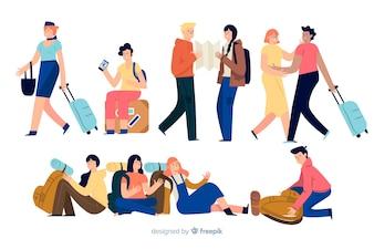 Viajantes fazendo ações diferentes