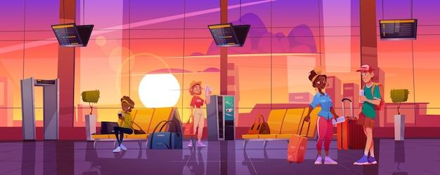 Viajantes na sala de espera do aeroporto turistas pessoas com bagagem