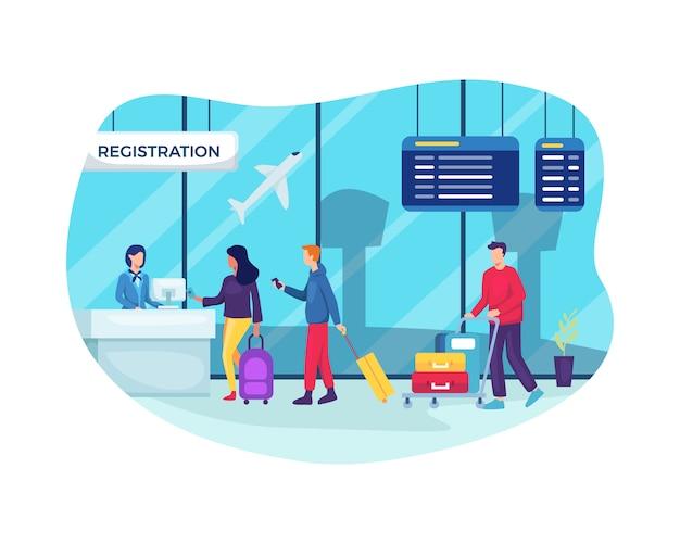 Viajantes no aeroporto esperando na fila para verificação