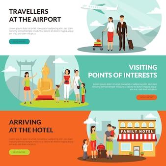 Viajantes no aeroporto no hotel e banners horizontais de excursão turística definida para turistas