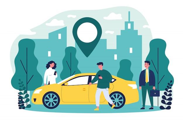 Viajantes que compartilham carro na cidade