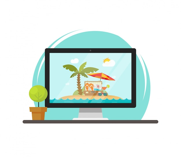 Viajar a cena on-line na tela do computador ou viagem de recreio resort vector ilustração plana dos desenhos animados