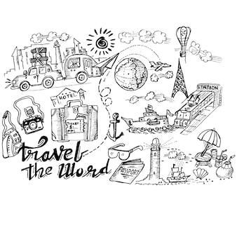 Viajar a palavra doodle