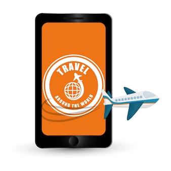 Viajar ao redor do mundo avião smartphone