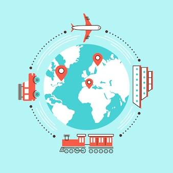 Viajar ao redor do mundo com diferentes meios de transporte em
