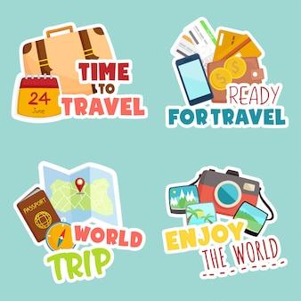 Viajar ao redor do mundo conjunto de adesivos