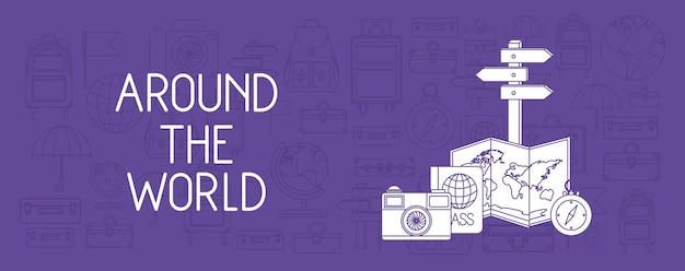 Viajar ao redor do mundo conjunto de ícones