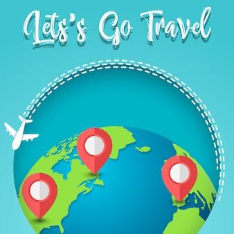 Viajar ao redor do mundo. Ícone de pinos do planeta Terra e mapa