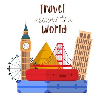 Viajar ao redor do mundo lettering vector postcard.