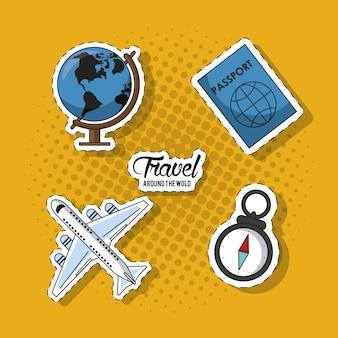 Viajar ao redor do quadro mundial Vetor Premium