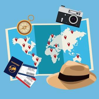 Viajar ao redor do vetor conceito de mundo