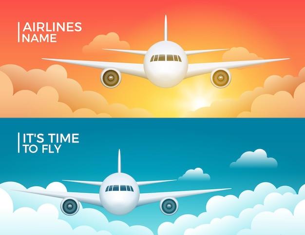 Viajar avião turismo vector banner design. férias de viagem pelo mundo