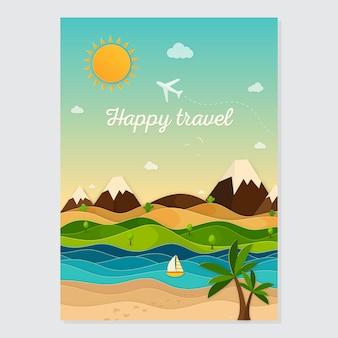 Viajar cartão conceito plana. cartão de viagem de verão
