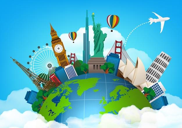 Viajar com monumentos famosos do mundo