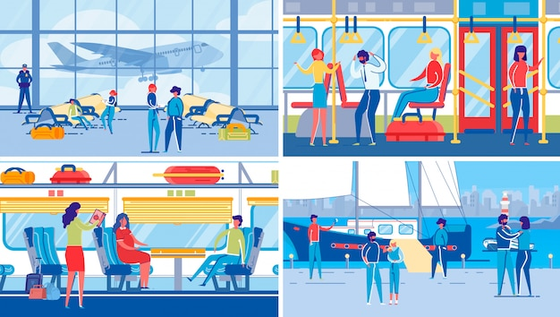 Viajar com transporte terrestre, aéreo e aquático.