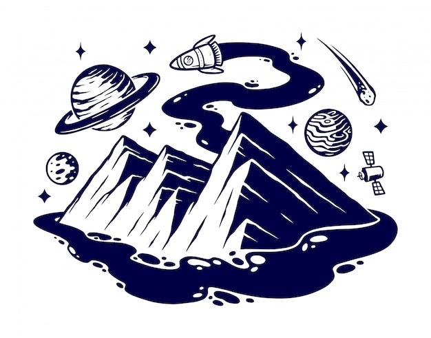 Viajar com uma ilustração de foguete