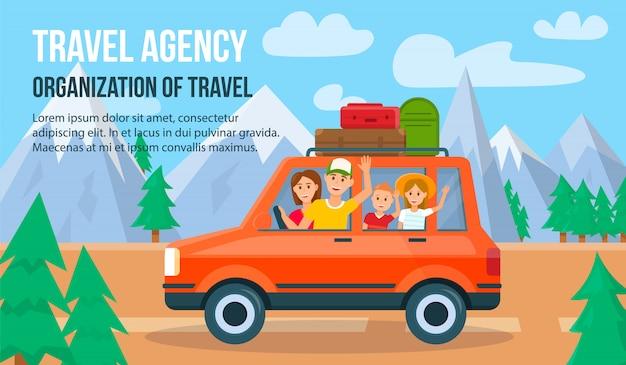 Viajar de família de férias.