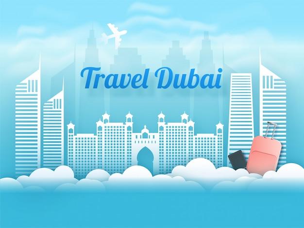 Viajar dubai. ilustração da paisagem da cidade