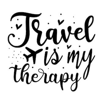 Viajar é minha terapia elemento único de tipografia premium vector design