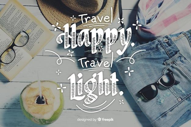 Viajar letras fundo com foto