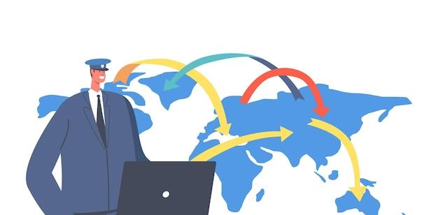 Viajar, o conceito de migração mundial. caráter de trabalhador de controle de passaporte em documentos de turistas de verificação uniforme no aeroporto. aprovação de visto, permissão para viajar para o exterior. ilustração em vetor de desenho animado