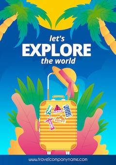 Viajar o mundo cartaz design ilustrado