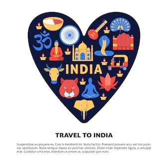 Viajar para a bandeira do conceito de índia