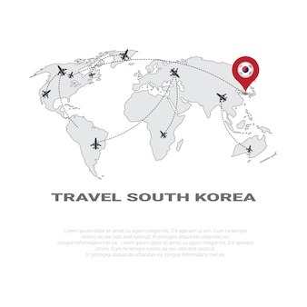 Viajar para a coreia do sul poster world map background turismo destino concept poster