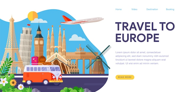Viajar para a europa landing page
