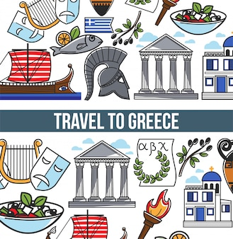 Viajar para a grécia cartaz vetor de símbolos gregos