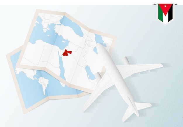 Viajar para a jordânia, vista superior do avião com mapa e bandeira da jordânia.