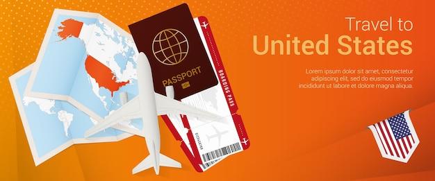 Viajar para o banner pop-under dos eua. banner de viagem com passaporte, passagens, avião, cartão de embarque, mapa e bandeira dos eua.