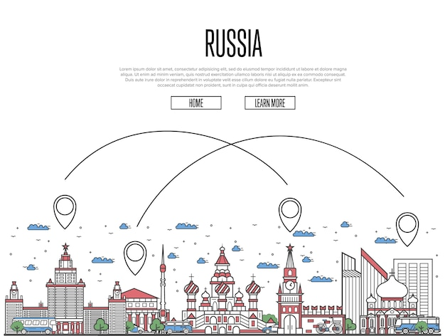 Viajar para o cartaz da rússia no estilo linear