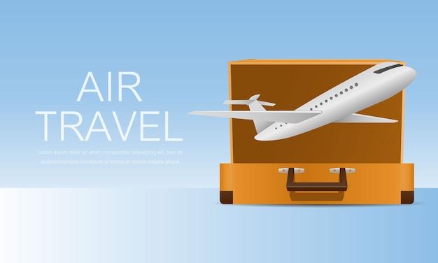 Viajar para o mundo no avião. bandeira de viagens aéreas. conceito de turismo.