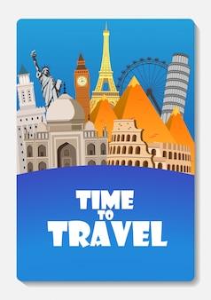 Viajar para o mundo. viagem. grande conjunto de monumentos famosos do mundo. hora de viajar, turismo, férias de verão. diferentes tipos de jornada