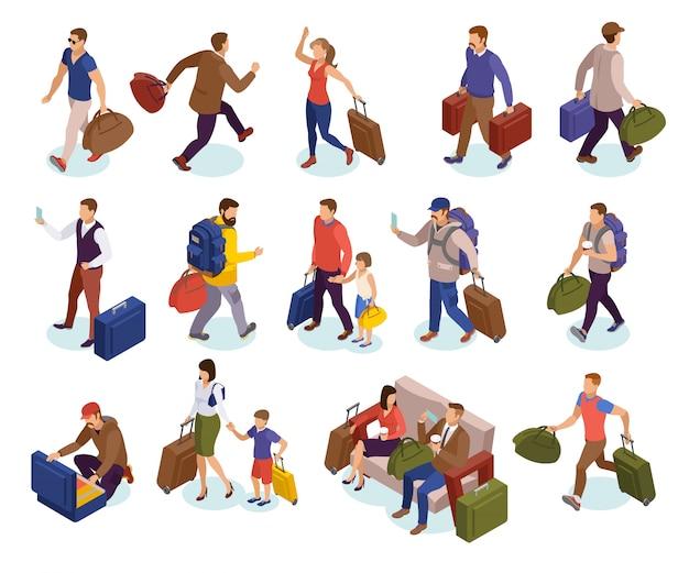 Viajar pessoas conjunto de ícones isolados de caracteres com malas esperando correndo para pousar reunião chegando passageiros isométricos