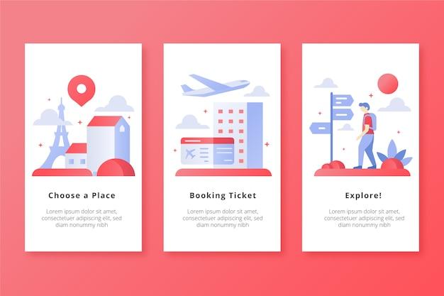 Viajar por todos os lugares em telas de aplicativos para dispositivos móveis