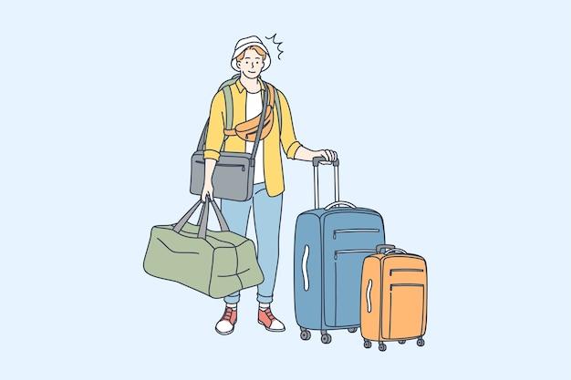Viajar turismo caminhadas conceito de férias.