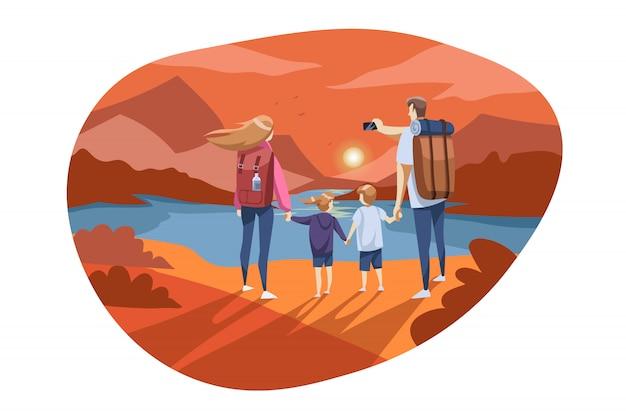 Viajar, turismo familiar, natureza, conceito de caminhadas
