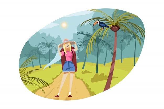 Viajar, turismo, natureza, conceito de caminhadas