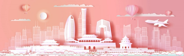 Viaje a paisagem urbana de marcos da ásia de pequim no fundo rosa.